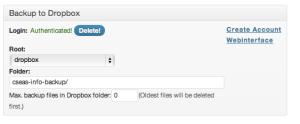 Dropbox設定 for Backwpup